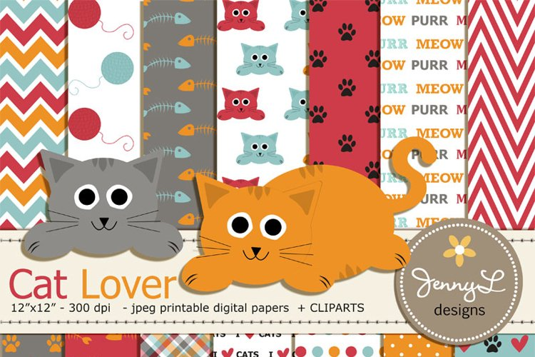 Cat Digital Papers and Clipart SET example image 1