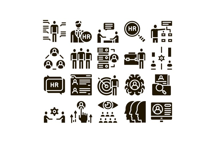 Hr Human Resources Glyph Set Vector example image 1
