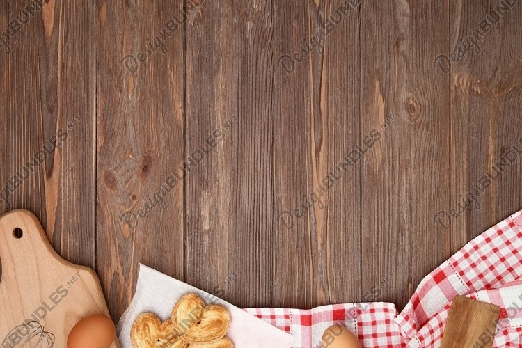 Kitchen mockup, background. Food on the wooden table