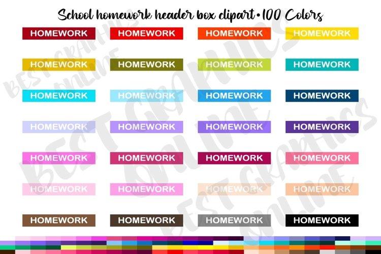 100 School Homework reminder list header box clipart set example image 1