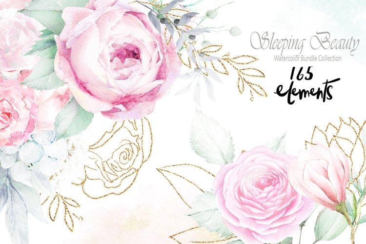 Sleeping Beauty Wedding Watercolor Bundle example image 1