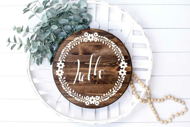 Hello Floral round door sign with floral Wreath