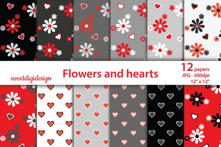Red and gray flowers and hearts background example image 1