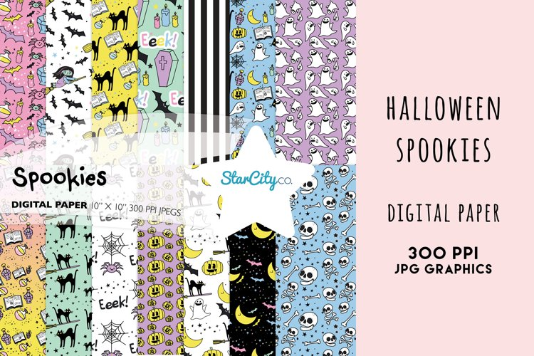 Halloween Digital Paper Set, Spookies Pastel Halloween paper example image 1
