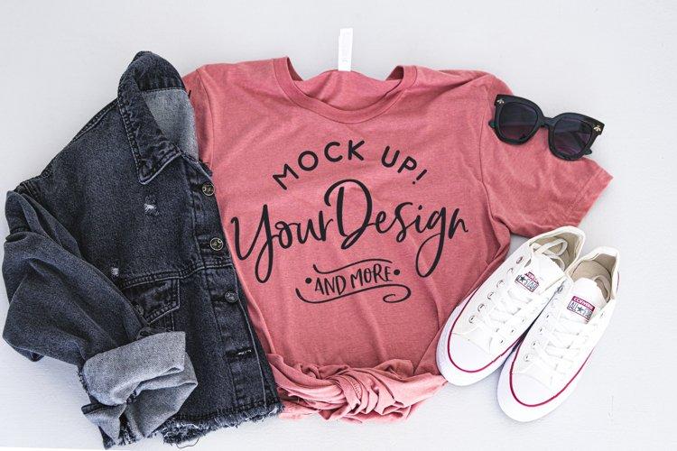 Shirt Mockup - Bella Canvas 3413 Mauve Triblend