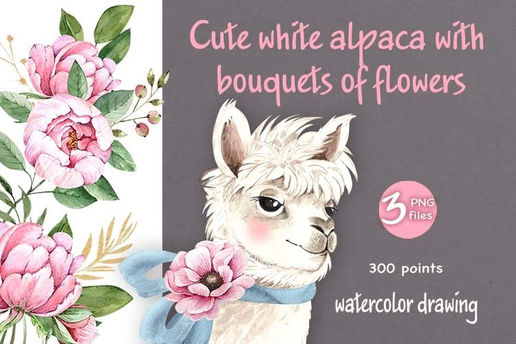 cute white alpaca with bouquets of flowers example image 1