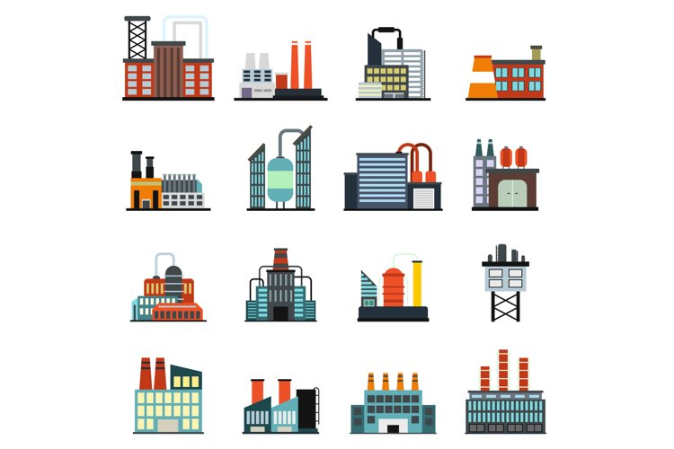 Industrial building factory flat icons example image 1