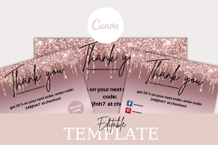 Modern Rose Gold Glitter Business Thank You Card Template