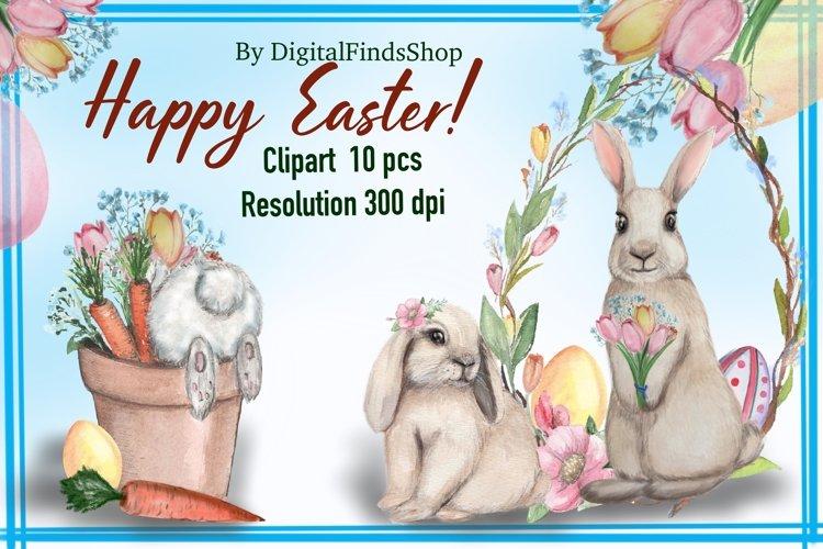Easter bunny clipart, rabbit clipart, bunny in pot