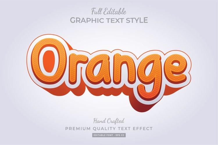 Orange Cartoon 3d Text Style Effect Premium Vector example image 1