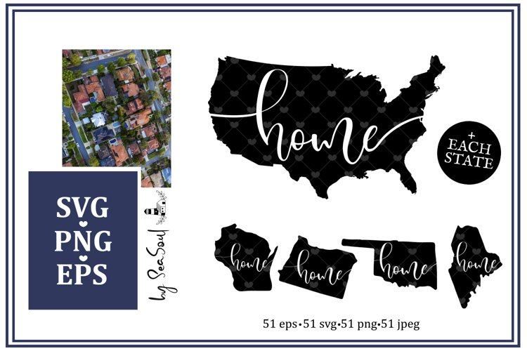 Map Home . USA & each state individual. SVG