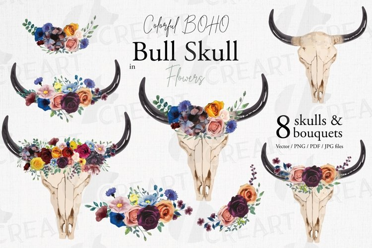 Boho wedding & shower bull skull with colorful flowers decor example image 1