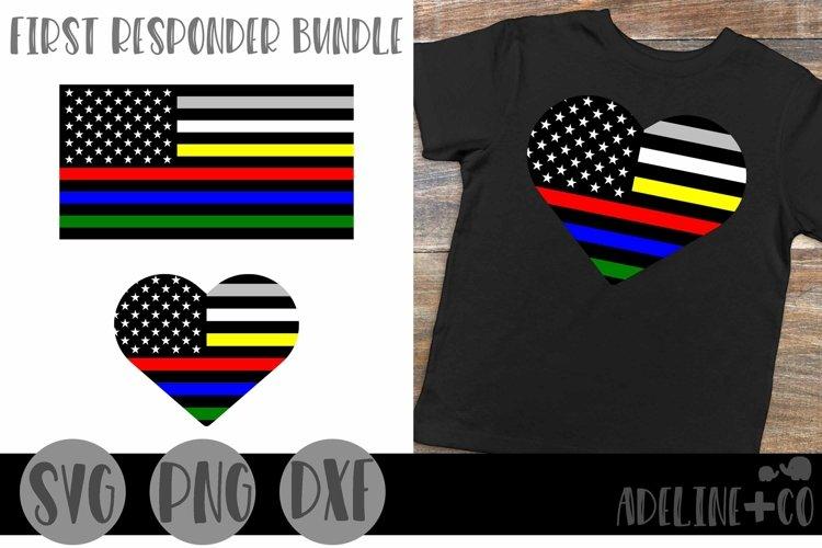 First Responder Bundle, SVG, Thin line, American flag