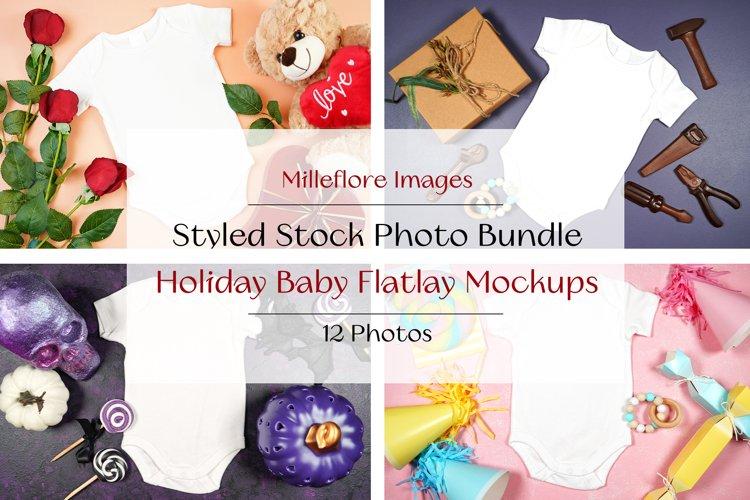 12 Baby Holiday Flatlay Mockups Styled Stock Photo Bundle