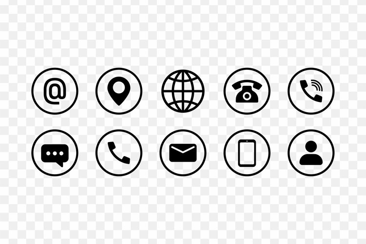Communication icon set in black. Email, location, internet example image 1