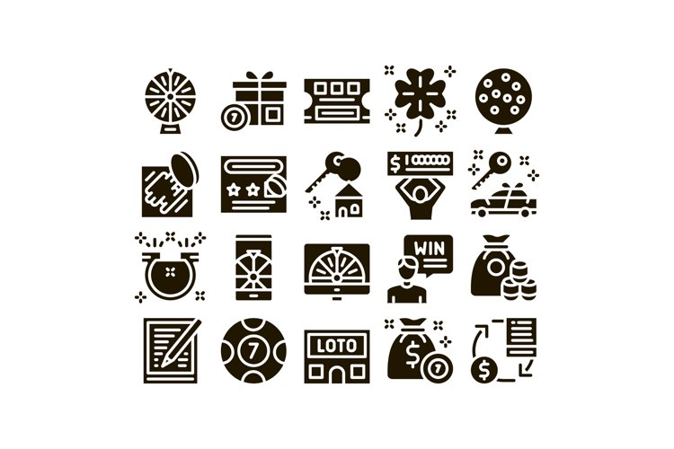 Lottery Gambling Game Glyph Set Vector example image 1