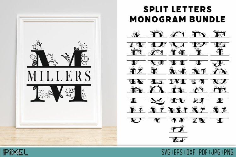 Split Monogram SVG Monogram Letters Split Letters Bundle