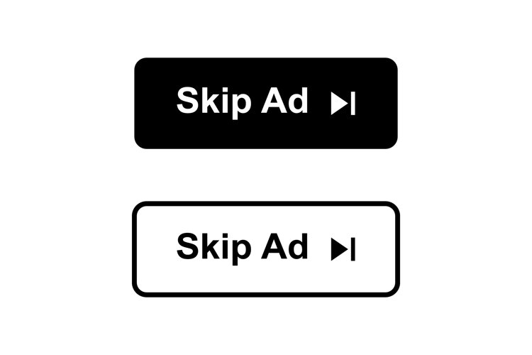 Skip ad button in two styles. Skip ad icon isolated example image 1