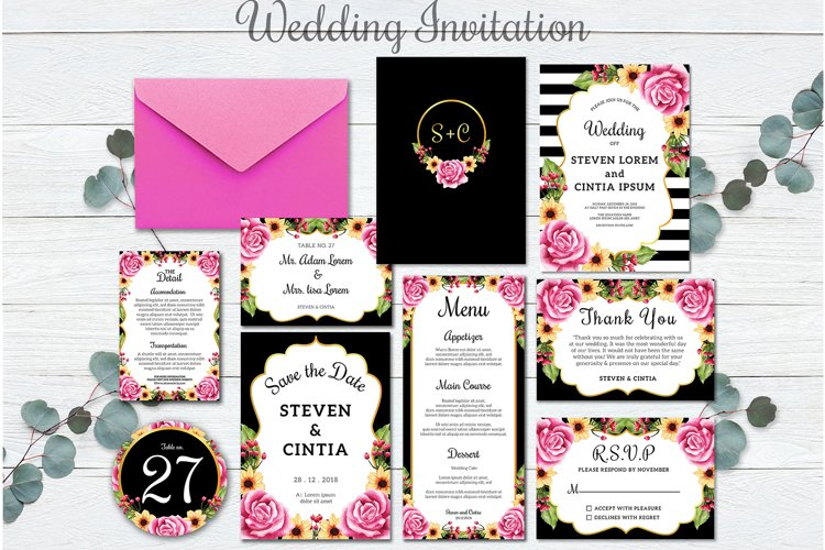Wedding invitation floral rose Collection
