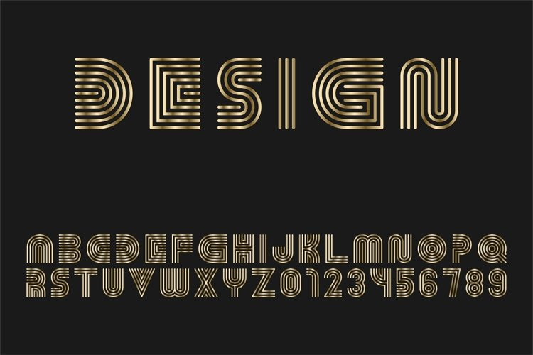 Luxury gold striped alphabet