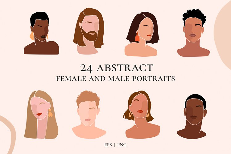 Female and male hairstyle portraits. Different races clipart