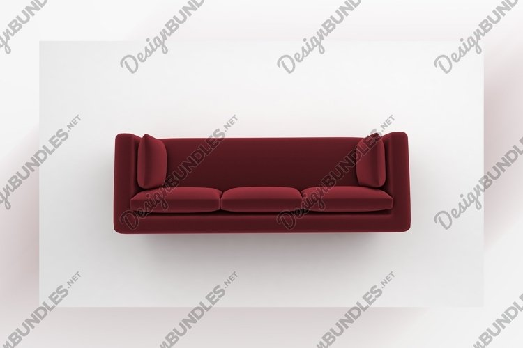 Red sofa with pillows top view furniture 3d rendering example image 1