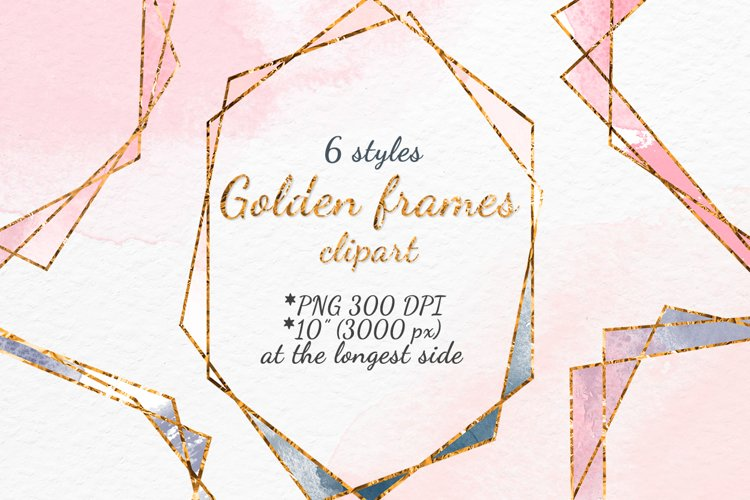 Gold frames Blush pink Navy and Grey watercolor texture example image 1