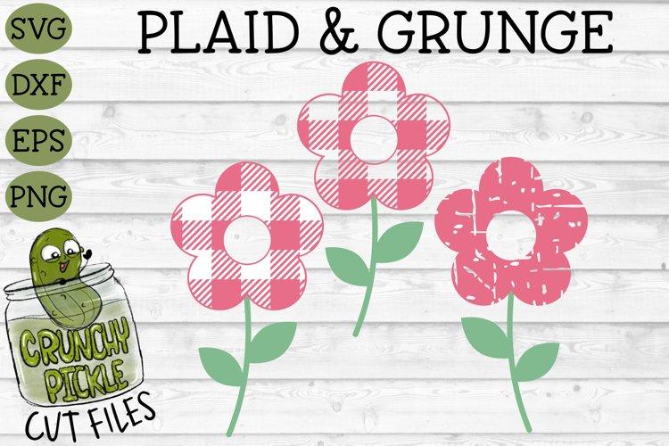 Plaid & Grunge Flower SVG Cut File