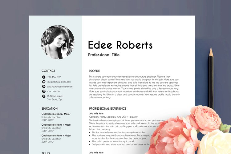 resume template with photo, professional resume, blue example image 1