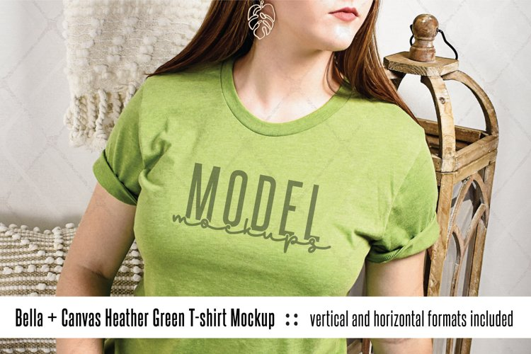 Bella Canvas 3001 heather green t-shirt mockup model example image 1
