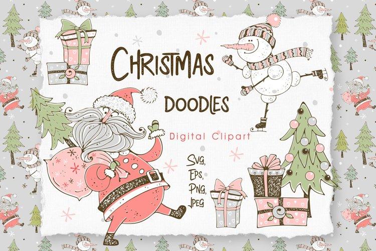 Santa Claus and the merry snowman, Christmas digital clipart