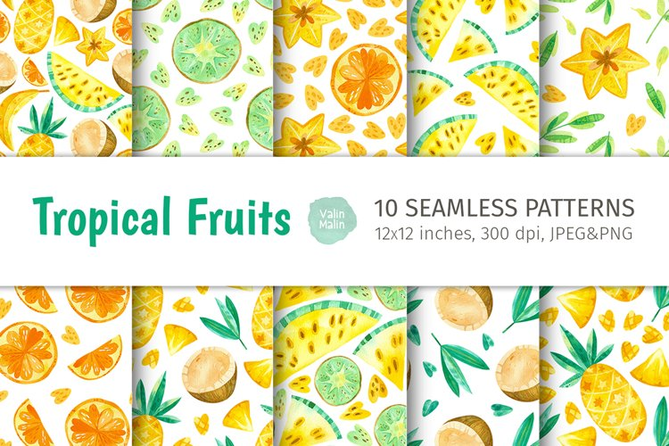 Summer Fruits seamless patterns. Tropical watercolor clipart