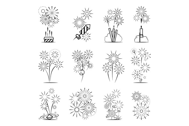 Firework celebration icon set example image 1