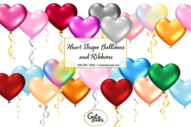 Rainbow Heart Balloons Clipart - cute Valentine balloon