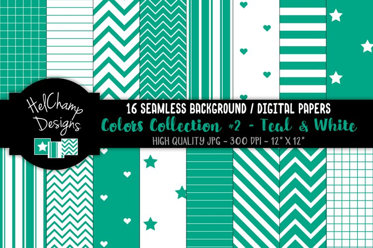 16 seamless Digital Papers - Teal and White - HC131