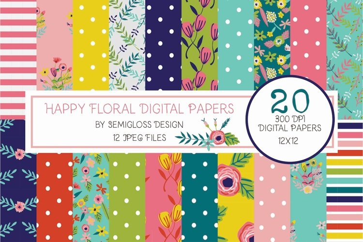 Bright Floral Digital Paper example image 1