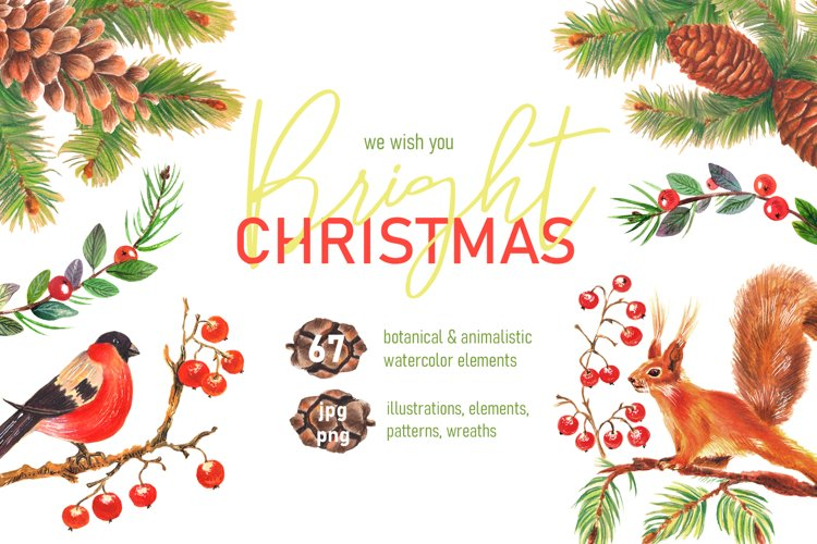 Christmas bright patterns, sets, compositions, wreath