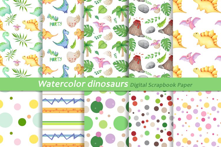 Watercolor Dinosaur Patterns, Cute Dinosaur Digital Papers example image 1