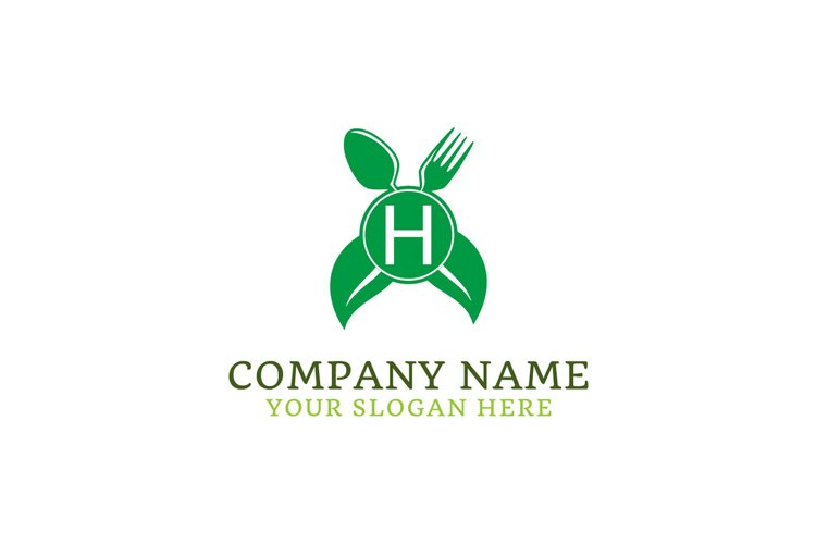 initial logo H leaf healthy spoon and fork example image 1