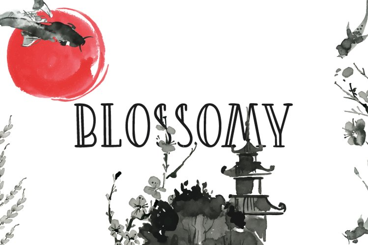 Blossomy Double Lined Font | LoveSVG example image 1