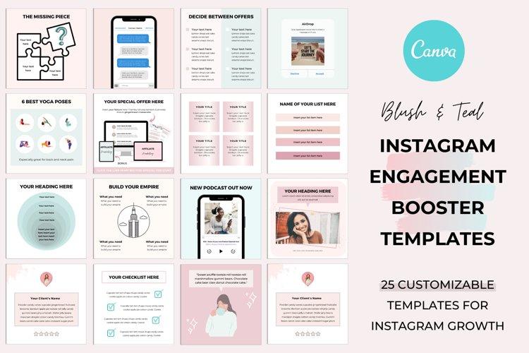 Instagram Canva Templates Engagement Viral Post Blush Teal