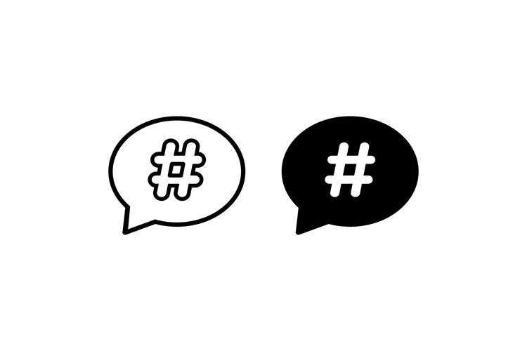 Hashtag icon set. Vector on isolated white background. example image 1