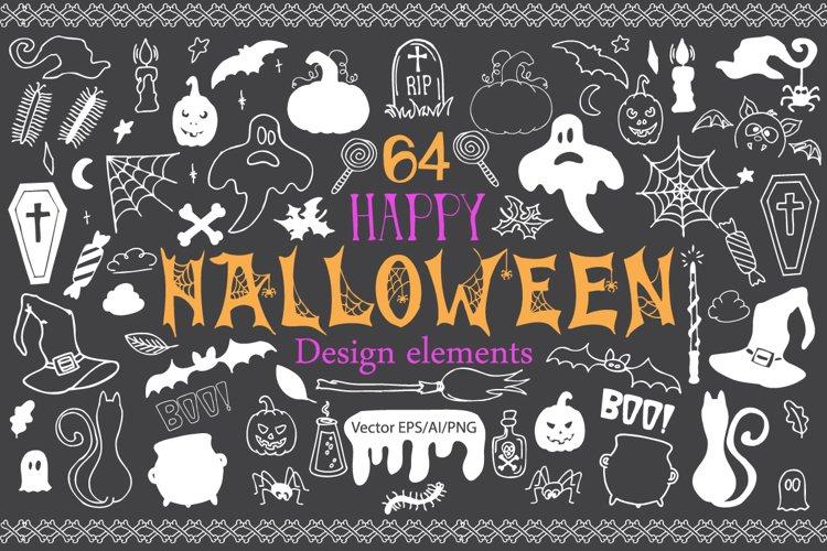 Halloween Doodle Vector clipart example image 1
