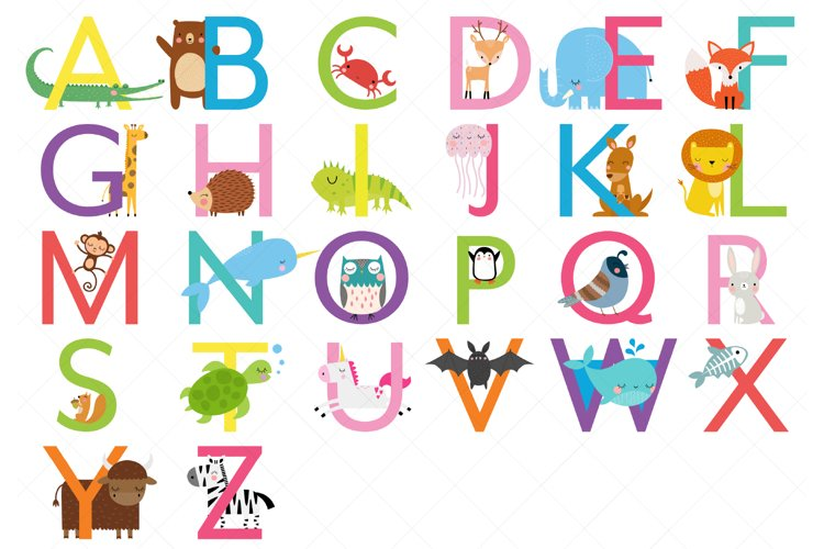Animal Alphabet Clipart, Uppercase Letters example image 1