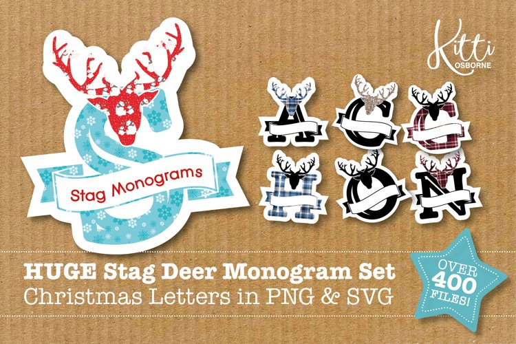 HUGE stag deer monogram set - Christmas letters in PNG & SVG