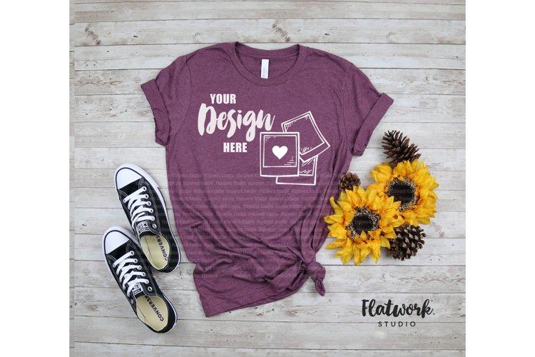 Fall Mockup | Bella Canvas 3001 T-shirt | Heather Maroon example image 1
