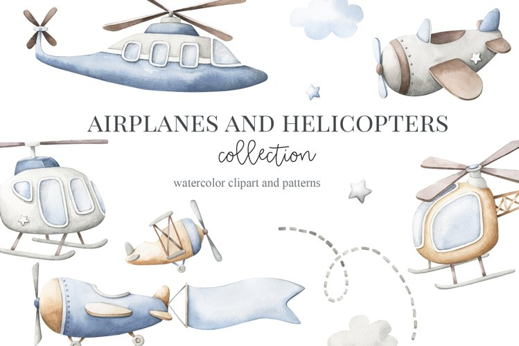 Airplanes and Helicopters Watercolor