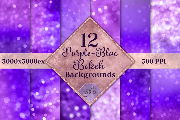 Purple-Blue Bokeh Backgrounds - 12 Image Textures Set example image 1