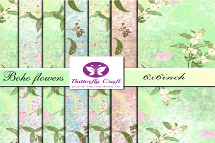 Spring boho flowers digital paper, Boho floral patterns example image 1