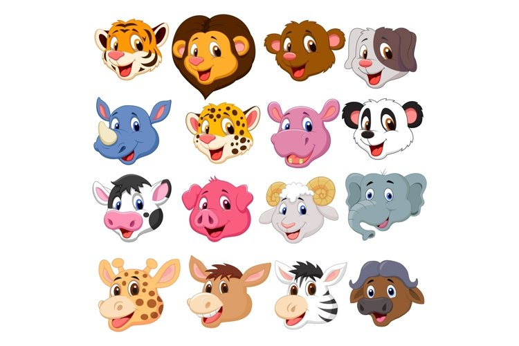 Set of Sixteen Cute Head Animals Bundle example image 1